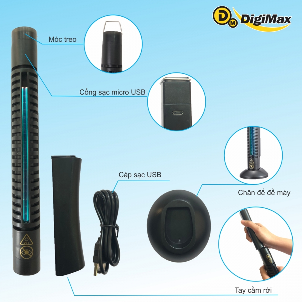 combo 01 may diet khuan digimax uv c thiet ke cam tay  pin sac usb 5v  dp 3ec  va 01 adapter